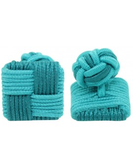 Turquoise and Bottle Green Silk Square Knot Cufflinks
