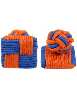 Blue and Orange Silk Square Knot Cufflinks