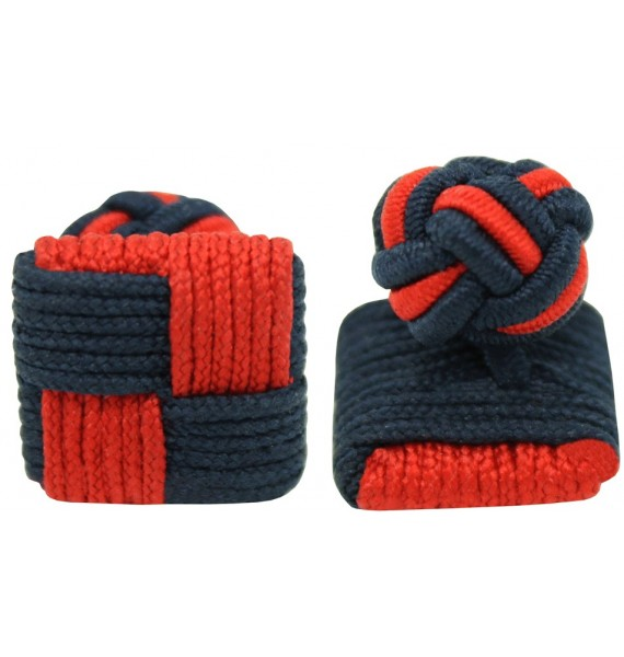 Red and Navy Blue Silk Square Knot Cufflinks