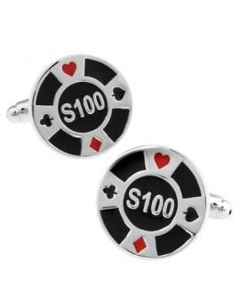 Gemelos Ficha de Poker Negra