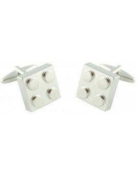 Silver Plated LEGO Brick Cufflinks