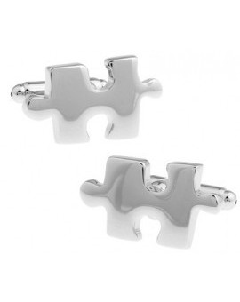 Silver Plated Puzzle Piece Cufflinks