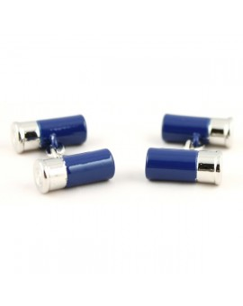 Blue Double Gun Cartridge Cufflinks
