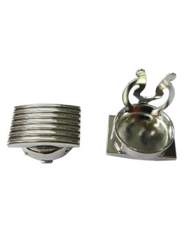 Silver Plated Ribbed Button Covers