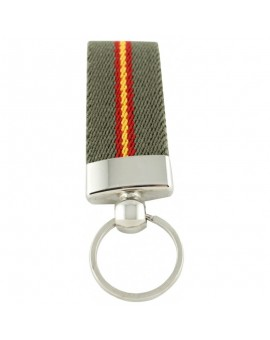 Spanish Flag Green Canvas Keychain