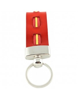 Spanish Flag Leather Keychain