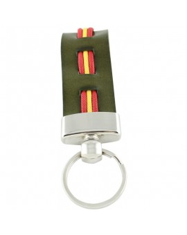 Spanish Flag Green Leather Keychain