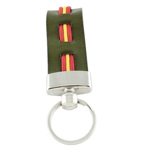 Llavero Cuero Verde Bandera de España