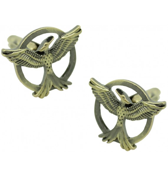 Mockingjay Cufflinks behind