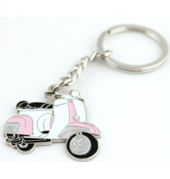 Pink and White Vespa Keychain