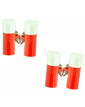 Red Double Gun Cartridge Cufflinks