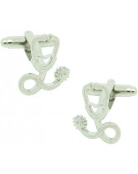 Silver Medical Stethoscope Cufflinks