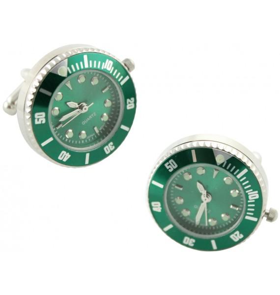 Gemelos para camisa reloj automático verde