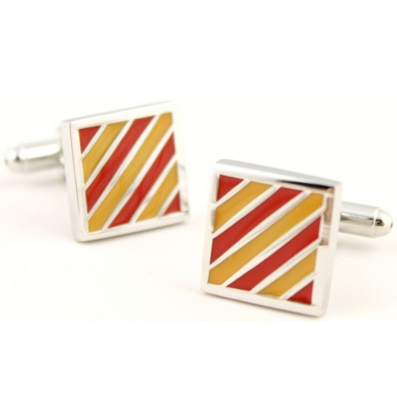 Red and Yellow Square Cufflinks
