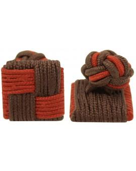 Burgundy and Dark Brown Silk Square Knot Cufflinks
