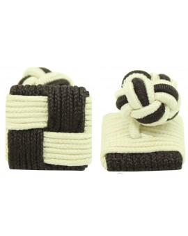 Dark Brown and Cream Silk Square Knot Cufflinks