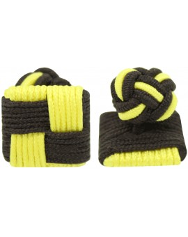 Dark Brown and Yellow Silk Square Knot Cufflinks