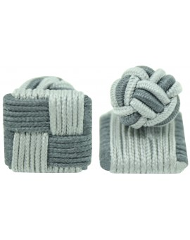 Grey and Light Grey Silk Square Knot Cufflinks