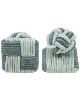 Grey and Light Grey Silk Square Knot Cufflinks