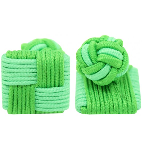 Green and Apple Green Silk Square Knot Cufflinks