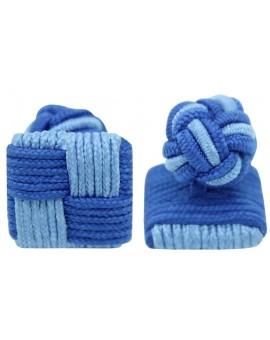 Light Blue and Blue Silk Square Knot Cufflinks