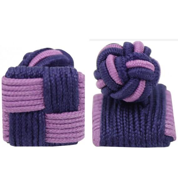 Violet and Dark Purple Silk Square Knot Cufflinks