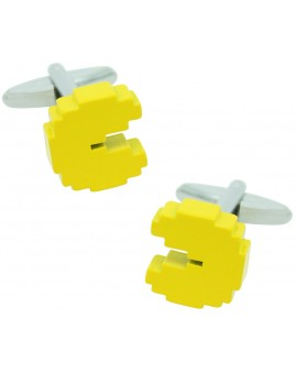 3D Yellow Pac-Man Cufflinks