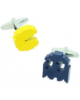 3D Yellow and Blue Pac-Man Cufflinks