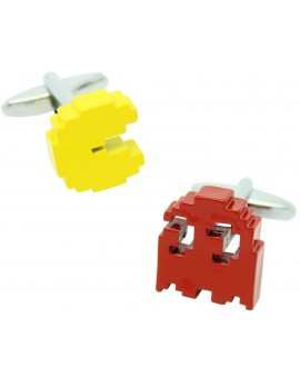 3D Yellow and Red Pac-Man Cufflinks