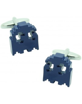 3D Blue Pac-Man Cufflinks