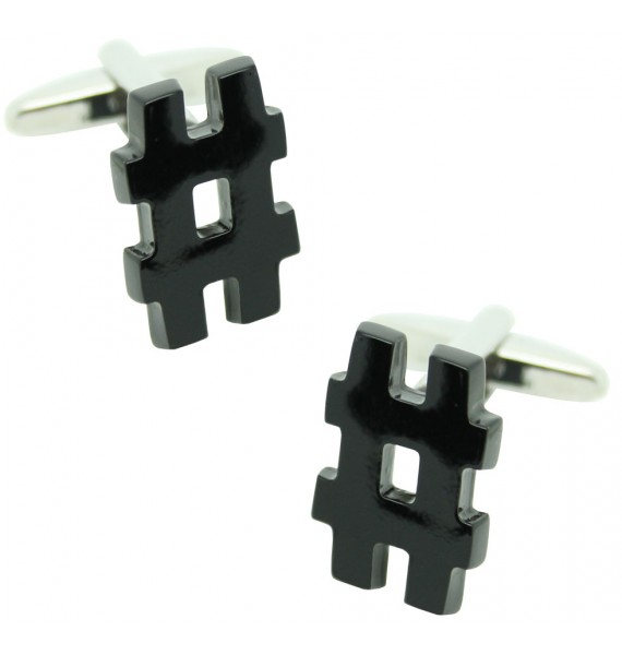 Black Octothorp Symbol Cufflinks