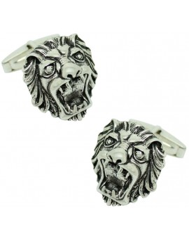 Sterling Silver Lion Head Cufflinks