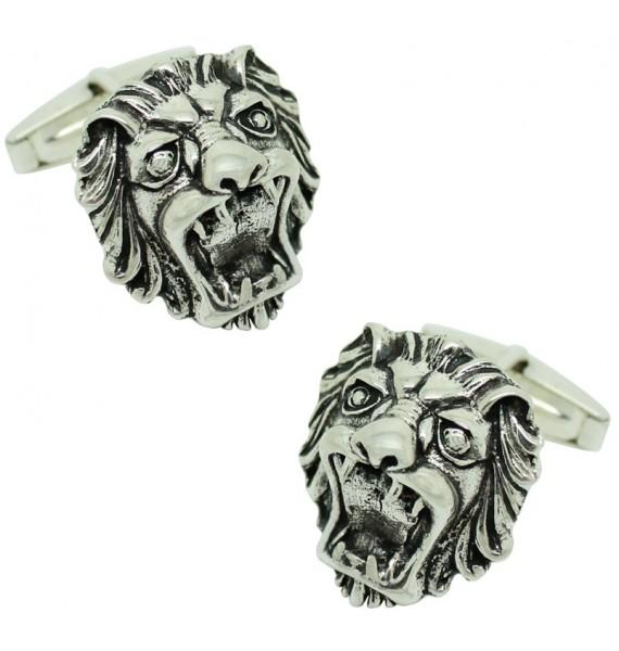 Sterling Silver Lion Head Cufflinks