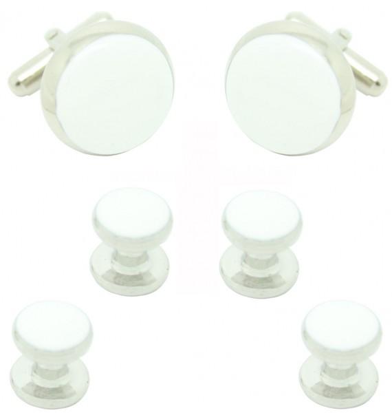 Gemelos y Botones Esmoquin Redondo Blanco