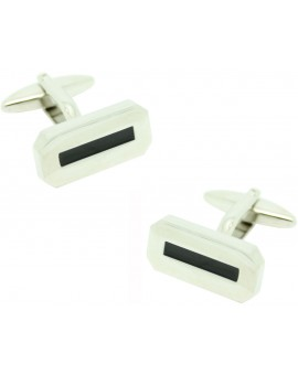 Black Stripe Octagon Cufflinks