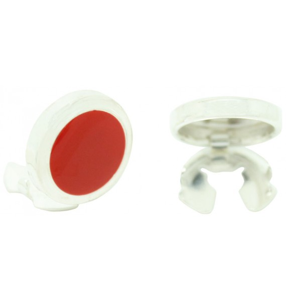 Sterling Silver Red Enamelled Button Covers