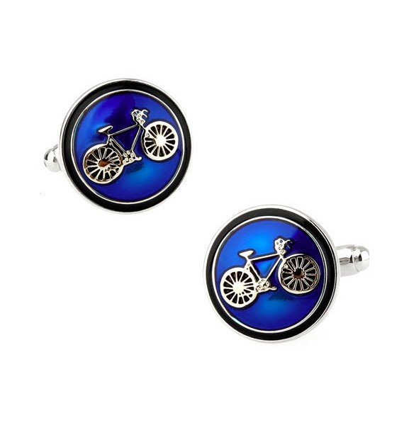 Classic Blue Bicycle Cufflinks
