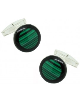Sterling Silver Green Semi-precious Stone Cufflinks
