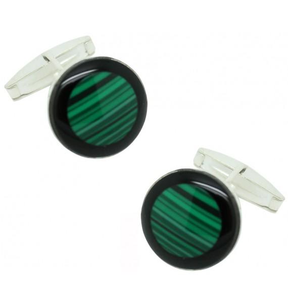 Sterling Silver Green Semi-precious Stone Cufflinks