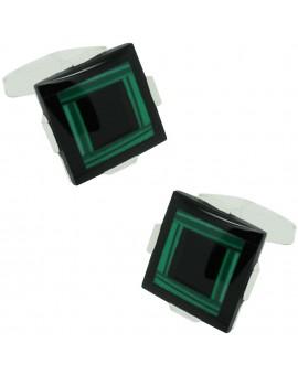 Gemelos Piedra Negra y Verde Plata 925