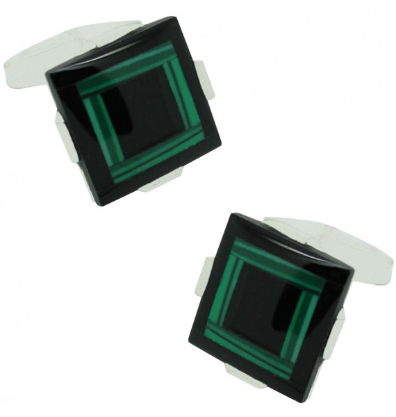 Gemelos piedra verde y negro plata 925 para camisa