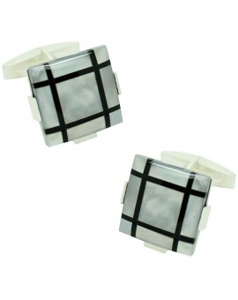 Sterling Silver White and Black Onyx Cufflinks