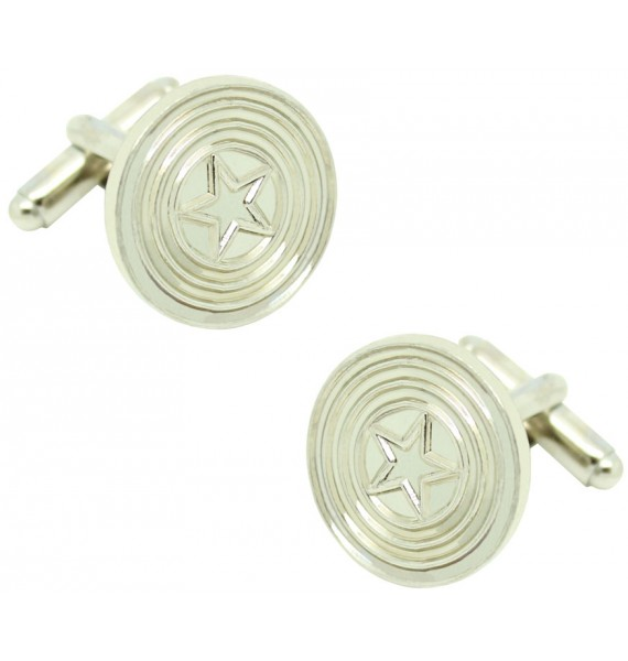 Silver Plated Captain America Shield Cufflinks