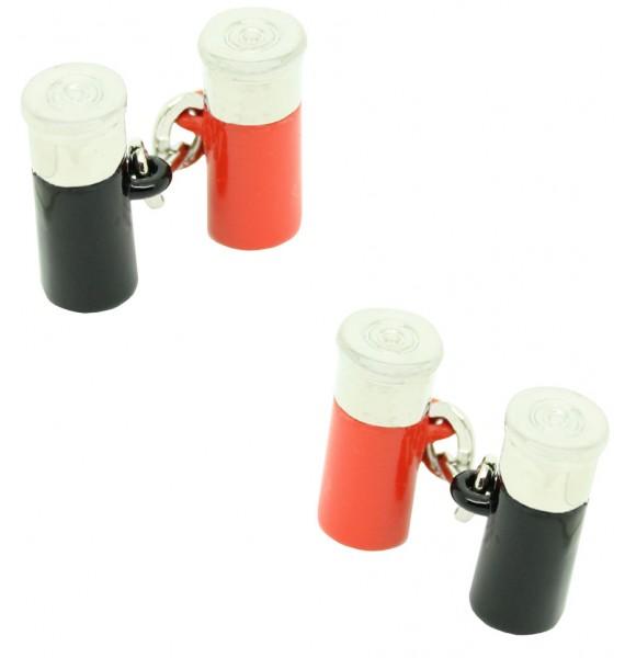 Red and Black Double Gun Cartridge Cufflinks