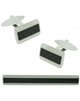 Stainless Steel Carbon Fiber Cufflinks and Tie Bar