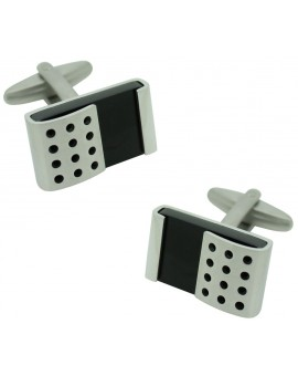 Stainless Steel Metal Wrap Black Stone Cufflinks