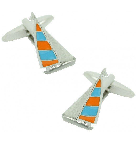 Orange and Blue Sailboat Cufflinks