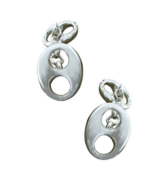 Sterling Silver Double Hawser Holes Cufflinks