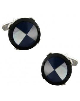 Gemelos Aspa Azul y Blanca Plata 925