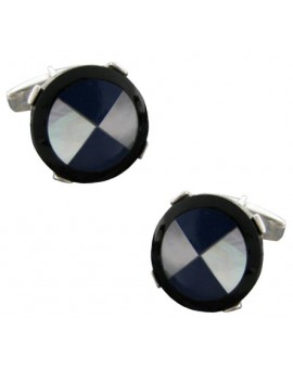 Sterling Silver Blue and White Cross Cufflinks